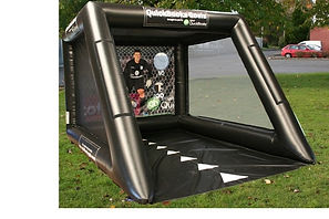 Inflatable Football shootout game  Black Tubular shootout with Black Groundsheet and themed back panel