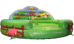 Inflatable Rodeo Bull bed Farm themed with artworked Back wall