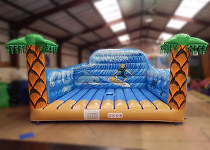 Inflatable Surfboard simulator game bed with Surfer theme backwall