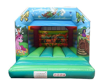 British made PVC bouncer with Artwork on outside walls , Backwall and Front Towers and Arches