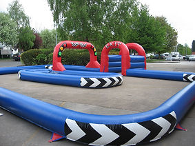 Inflatable Small Go Kart Track - Blue with 3 Red Arches