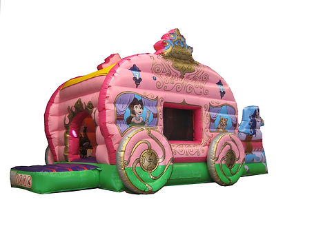 Princess Carriage Run through Bounce and Slide Bouncy Castle