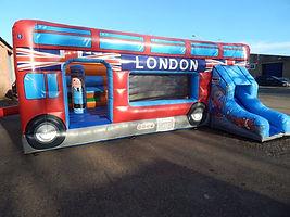 Bespoke London Bus Activity with Slide Bouncy Castle
