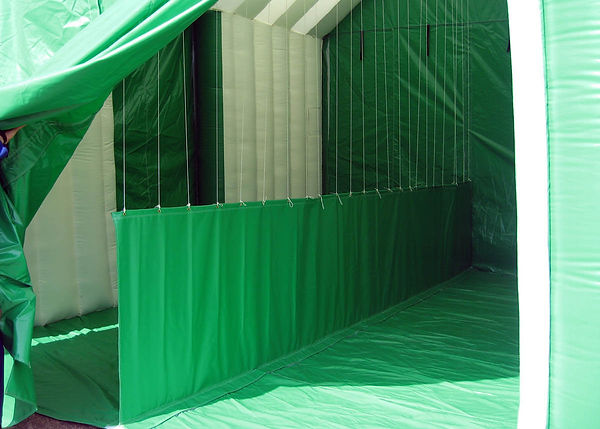 Tall Inflatable Worktent with Side Roll-up Door and internal wall
