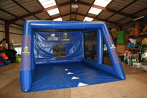 Inflatable shootout game Blue Tubular shootout with Cricket themed backdrop