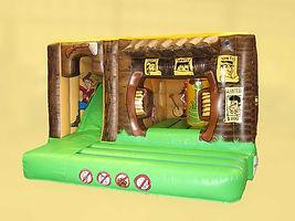 Western Cowboy Cabin Bounce and Slide Combi Cabin Bouncy Castle
