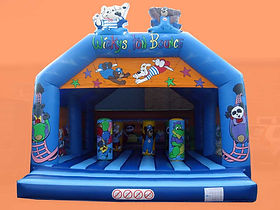 Bespoke Large A Frame Bouncy Castle with Cartoon features on the Arch