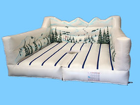 Inflatable Snowboard simulator bed gamewith Alpine theme backwall
