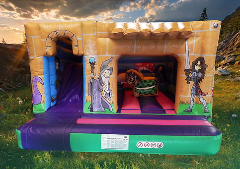 Knights Cabin Combi Bounce and Slide Bouncy Castle
