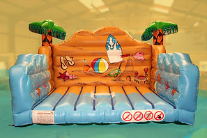 Inflatable Surfboard simulator game bed in Beach theme and Feature Palm trees