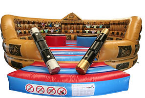 Inflatable Deluxe Roman Style Gladiator Game with Themed backwall and Inflated podiums