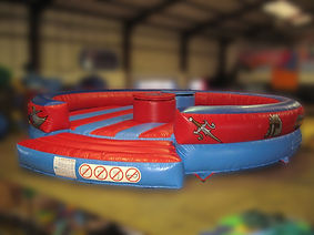 Inflatable Simple Gladiator Game Round Bed with themed artwork