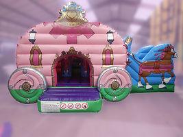 Princess Carriage Bounce and Slide Front Entrance Bouncy Castle