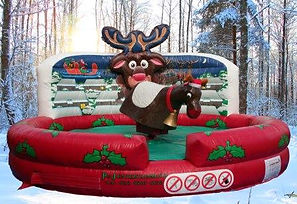 Inflatable Rodeo Bull bed Christmas skyline themed with Reindeer Head