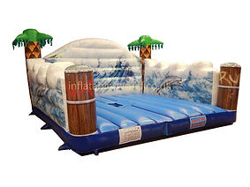 Inflatable Surfboard simulator game bed with realistic surf artwork and Feature Palm trees