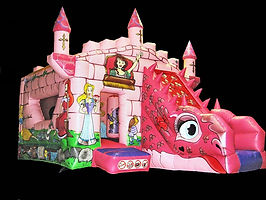 Pink  Dragon Front Slide Combi Bouncy Castle