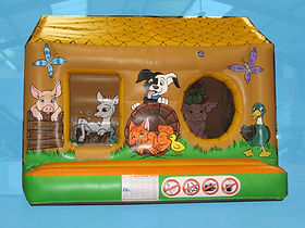 Farm theme Box Bouncer Bouncy Castle non woodgrain with Ball Pool area
