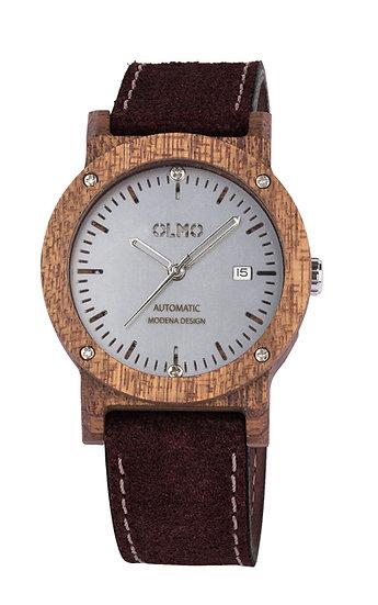 OLMO Mahogany Ø42mm- Bark Leather strap