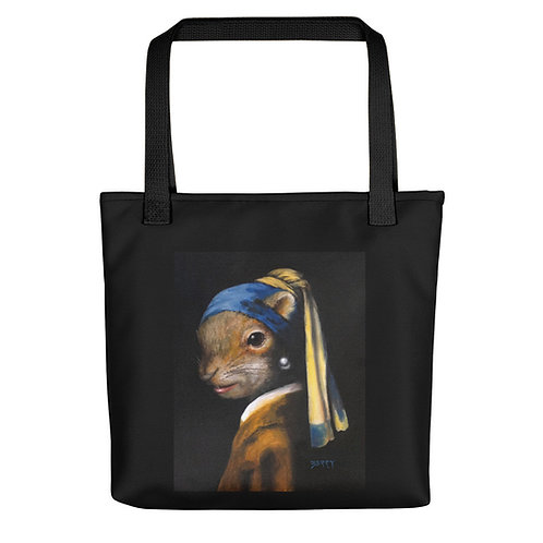 Squirrel with a Pearl Earring Tote Bag