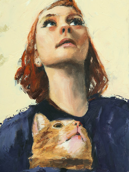 """A Study of Two Red Heads 6 x 8"""""""