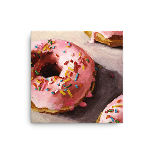 16 x 16 Pink Donut Canvas Print