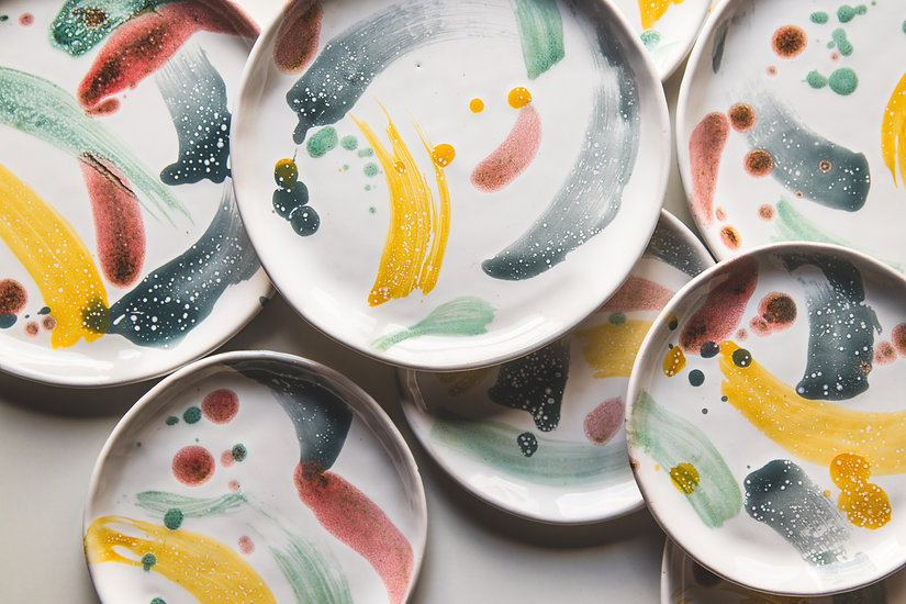 Hand-painted ceramic plates. Collection