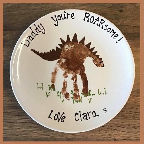 Personalised handprint dinosaur plate