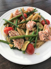Spiced Salmon pasta, oven baked cherry tomatoes with asparagus, green beans and courgette