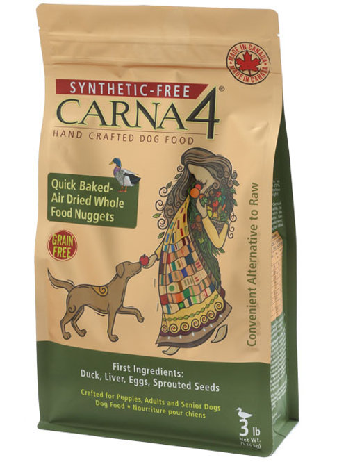Carna4. Quick Baked, Air Dried Dog Food - Duck Formula 3lbs