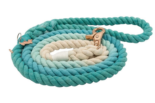 Sassy Woof Rope Leash - Ombre Teal