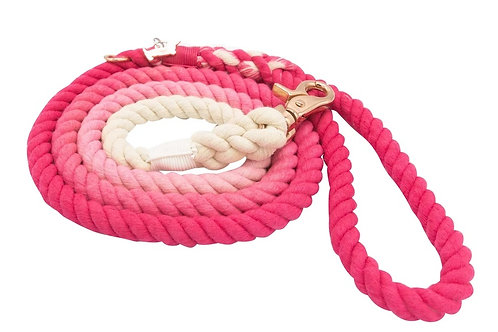 Sassy Woof Rope Leash - Ombre Pink