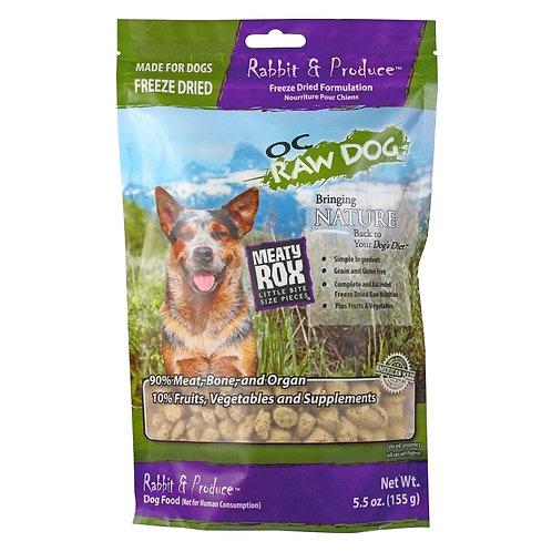 OC Raw Dog. Meaty Rox - Freeze Dried Rabbit & Produce