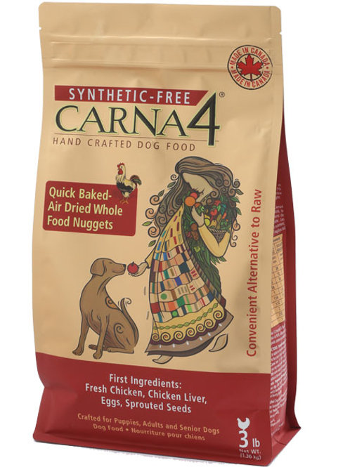 Carna4. Quick Baked, Air Dried Dog Food - Chicken Formula 3lbs