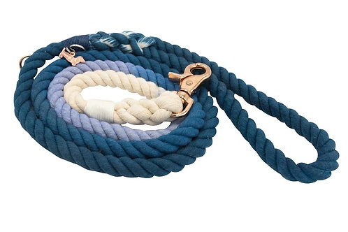 Sassy Woof Rope Leash - Ombre Blue