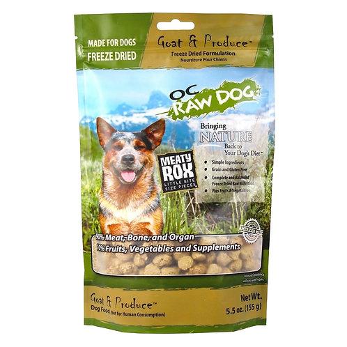 OC Raw Dog. Meaty Rox - Freeze Dried Goat & Produce