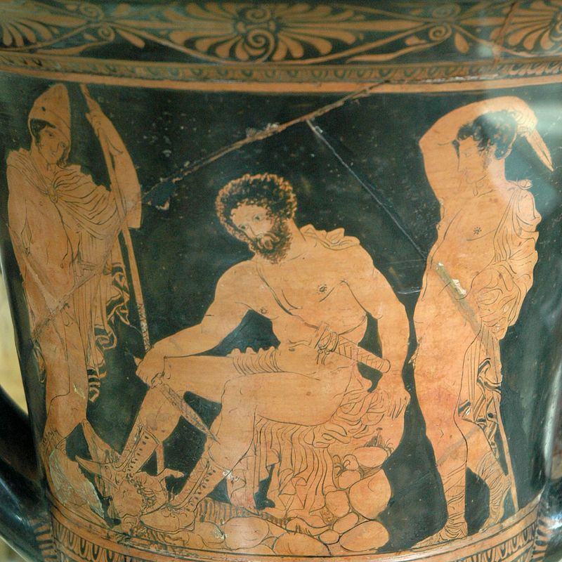 A krater of Odysseus in the underworld waiting to consult the prophet Teirisias