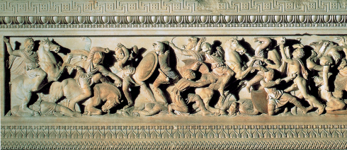 A frieze on the Alexander Sarcophagus depicting a battle between the Greeks and Macedonians