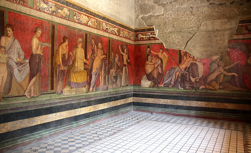 A room in the Villa of the Mysteries showing all the frescoes