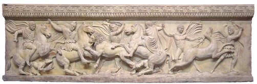 A frieze from the Alexander Sarcophagus depicting a hunting scene