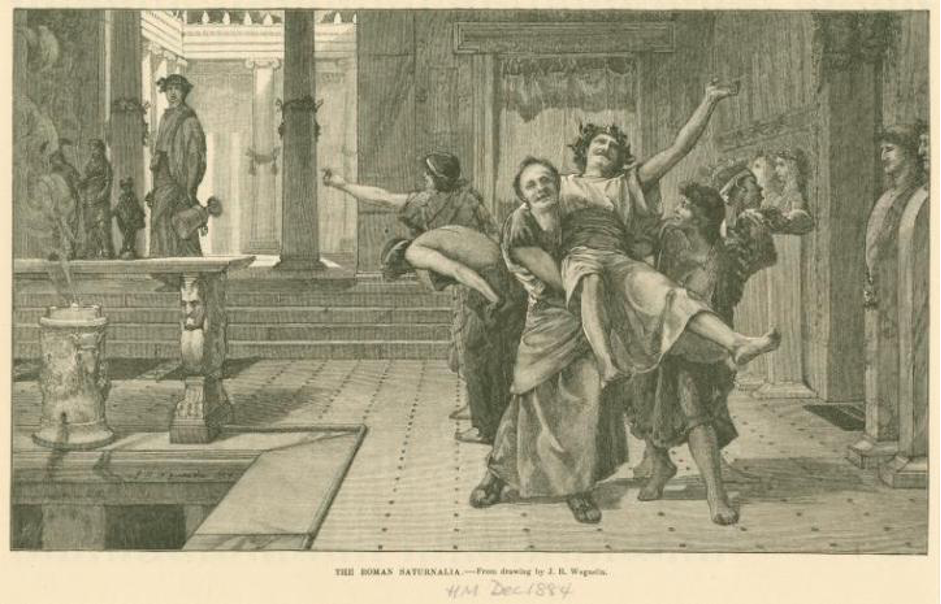 Drawing depicting a drunken reveller being carried away by his friends during the Saturnalia by John Reinhard