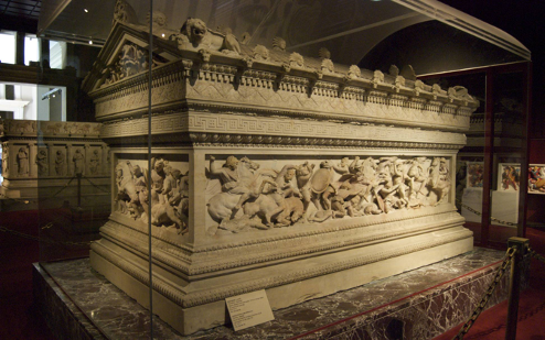 The sarcophagus, c.315-325 BCE, on display in the Istanbul Archaeological Museum.