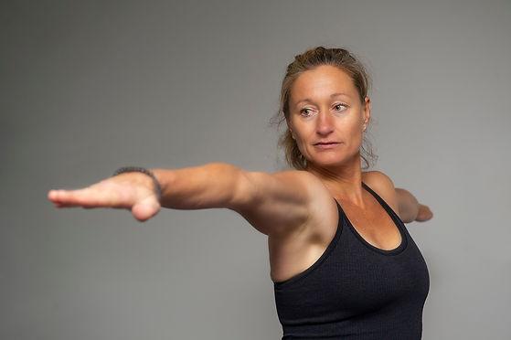 Michelle Triggs in yoga pose