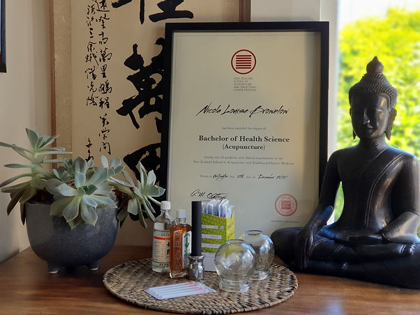 Acupuncture BHS Certificate with Buddha statue