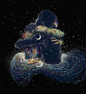 Artwork of two people hugging within universal stars