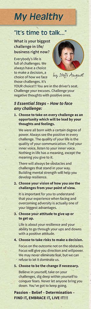 Article about 5 Essential Steps - how to face any challenge, by Steffi August