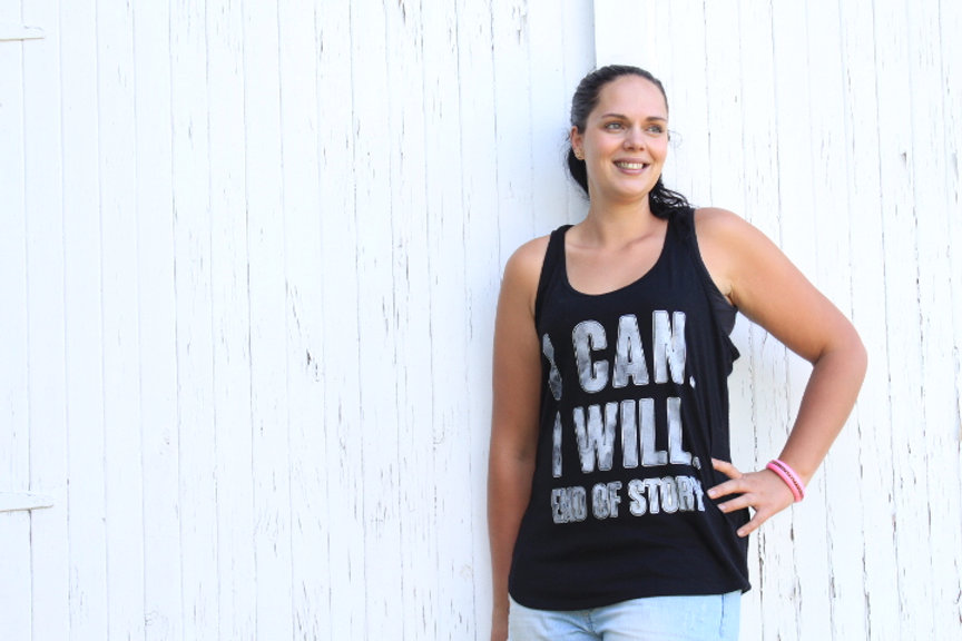 Xena Jones in I Can I Will End of Story t-shirt