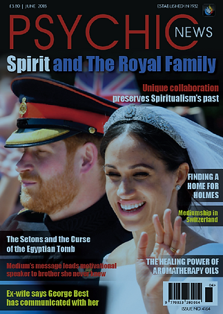 Cover of Psychic News magazine with Prince Harry and Meghan Markle on their wedding day