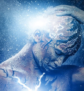 Artwork showing person holding their head with light shining through cracks
