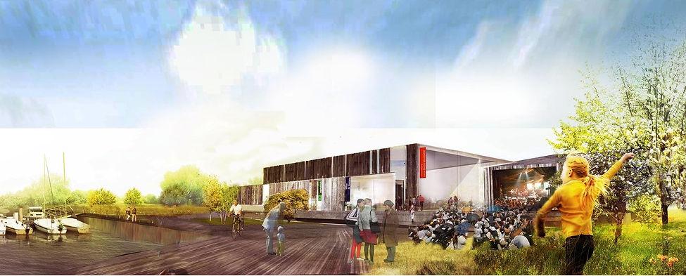 vue en perspective concert en plein air sur l'île du Mont Bart projet concours par TNT Architecture et BGA