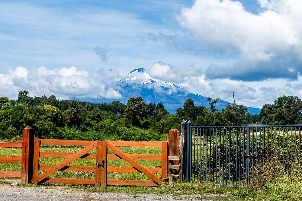 Chile: Roadtrip - gates, fields and volcano.